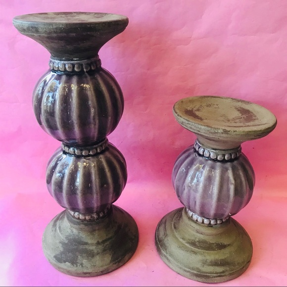 Vintage Other - Vintage purple ceramic candle holders
